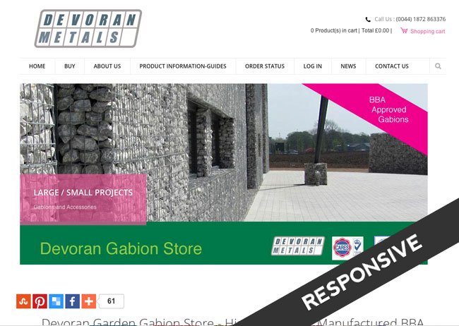 ecommerce website design for selling gabions